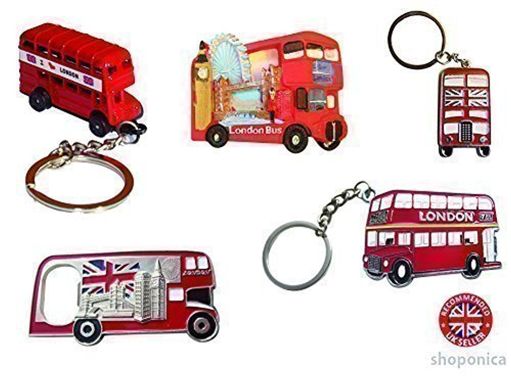 영국 마그넷 London Icon Red Bus Fridge Magnet / Bottle Opener / Key Rings - Mix of 5