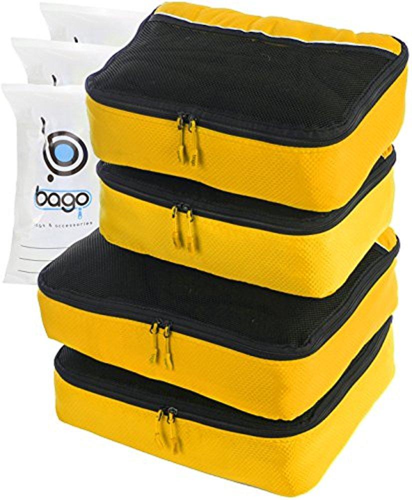 Packwürfel 4pcs Wert Set für Reisen Plus 6pcs Gepäck Veranstalter Zip Beute