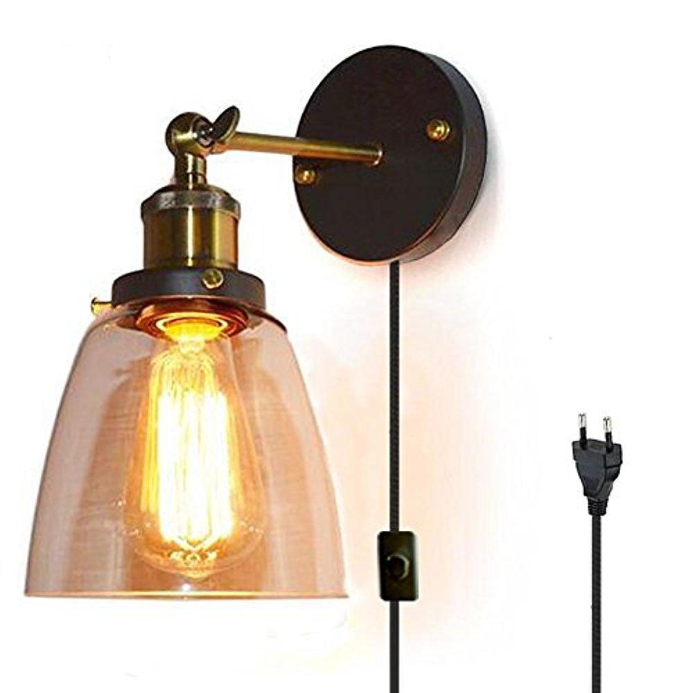 fsliving retro glas wandleuchte 1 8 meter kabel mit fassung schalter stecker industrie. Black Bedroom Furniture Sets. Home Design Ideas